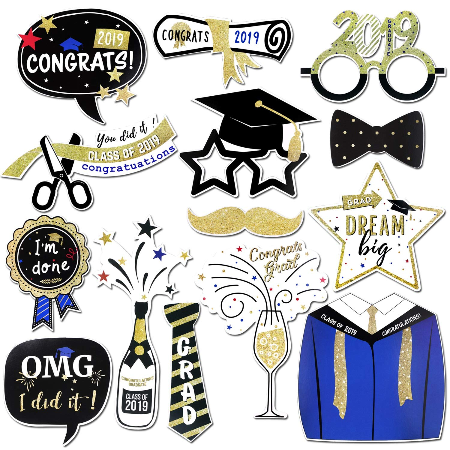 14count Konsait Graduation Photo Booth Props Large Graduation Photo Props Grad Party Decor Class of 2019 with Sticks Graduation Party Favors Supplies Decorations Student Gift