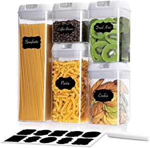 Smyidel Food Storage Containers with Lids Airtight 5 Pieces Set Kitchen Organization BPA-Free Plastic Storage Jars Ideal for Cereal, Flour Container & Sugar Container Include Labels