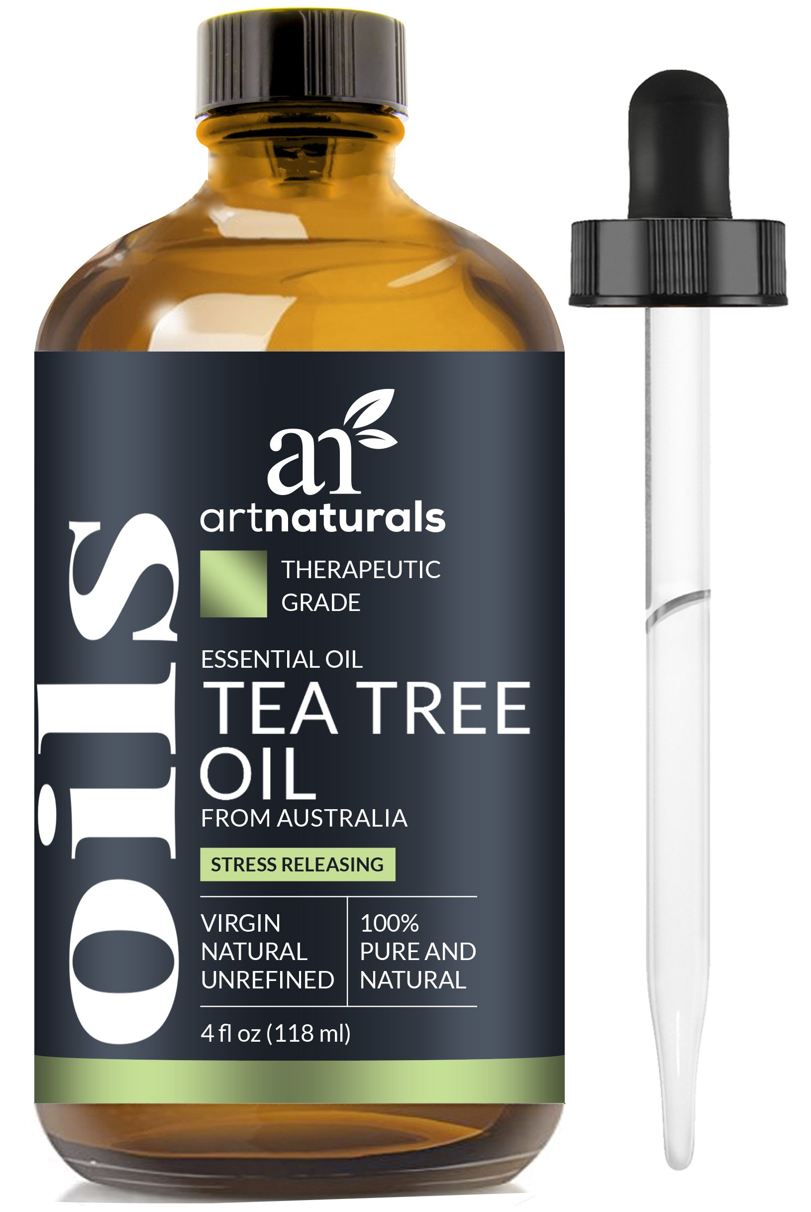 ArtNaturals 100% Pure Tea Tree Essential Oil - (4 Fl Oz/120ml) - Natural Premium Melaleuca Therapeutic Grade - Great with Soap and Shampoo, Face and Body Wash - Treatment for Acne, Lice