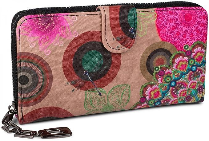 styleBREAKER portefeuille à motifs de fleurs ethniques differents, dessin vintage, fermeture à glissière toute autour, femmes 02040040, couleur:Beige-marron-marron foncé-rose