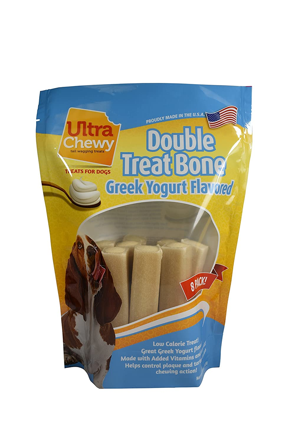 Ultra Chewy Greek Yogurt Flavored Double Treat Bone Value Pack Includes 2 Packages
