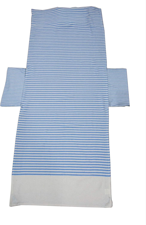 NOVEL MAISON Telo Mare con Morbido Cuscino e Sacchetto Porta Telo Piscina Sdraio Cotone Misura Lettino 90x170 cm con Tasche Laterali Elastico Angoli Fissaggio al Lettino Colore Celeste