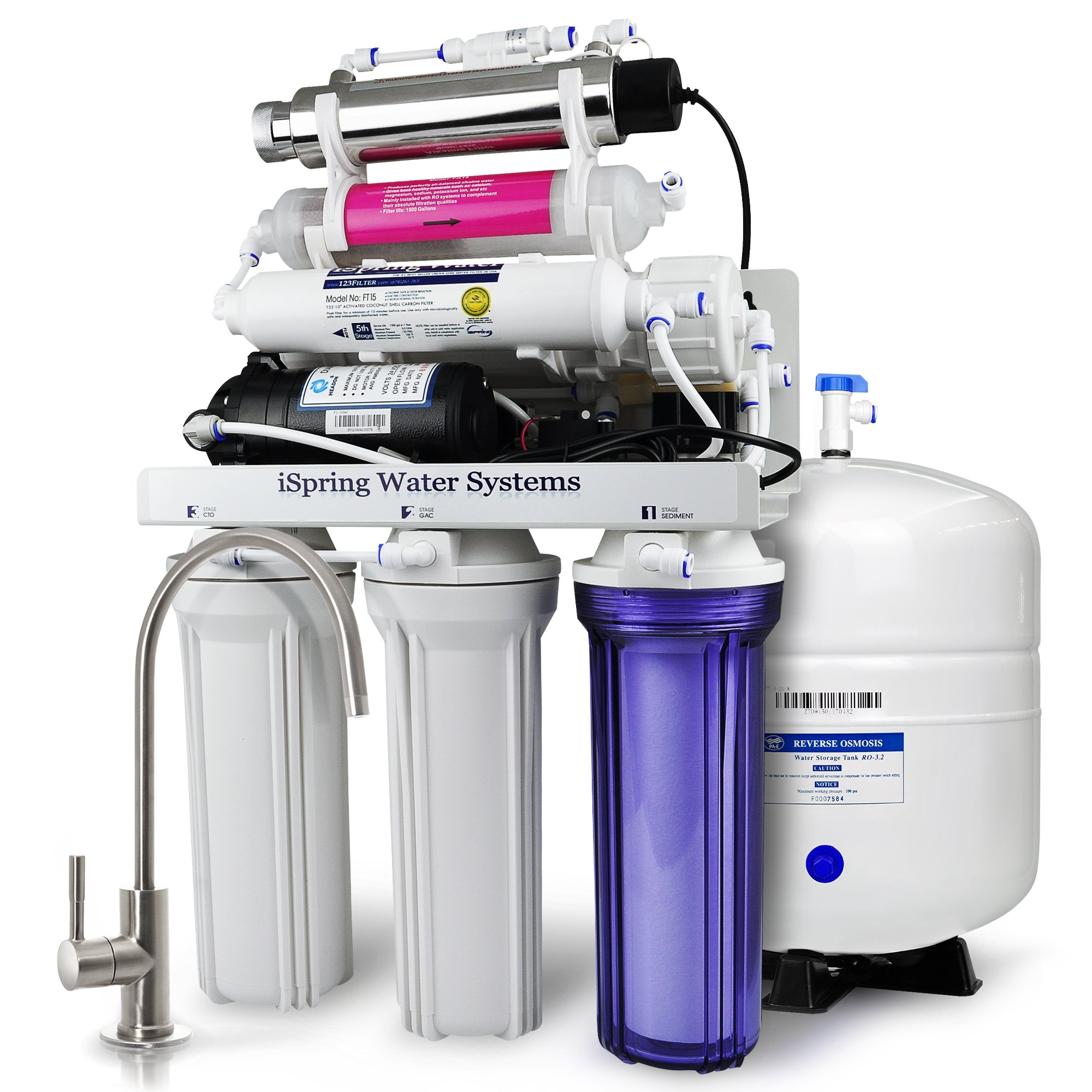 iSpring RCC1UP-AK 7-Stage Maximum Performance 100 GPD Under-Sink Reverse Osmosis Drinking Water Filtration System with Booster Pump, Alkaline pH+ Remineralization Filter and UV Sterilizer
