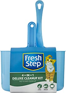 Fresh Step Cat Litter Cleanup Kits and Supplies | Kitty Litter Cleaning Supplies | Litter Box, Scoop, Trapper Keeper Mat