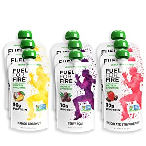 Fuel For Fire VEGAN - Fruit & Vegan Protein Variety Smoothies (9 Pack) Ready-to-Drink Squeeze Pouch | Soy Free, Lactose Free, Dairy Free, Plant-based Pea Protein, Vegan, Gluten Free | On the Go