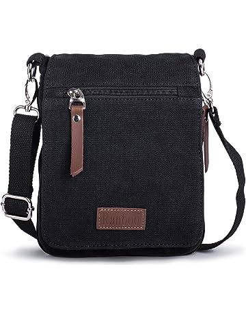 28400249054 Bandolera Hombre Pequeña Bolsa de Mensajero de Lona Mini Messenger Bag  Bolsos a Hombro con Mosquetón