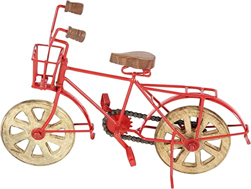 Deco 79 27377 Iron and Mango Wood Bicycle Model Sculpture, 9 x 13 , Red Brown Black