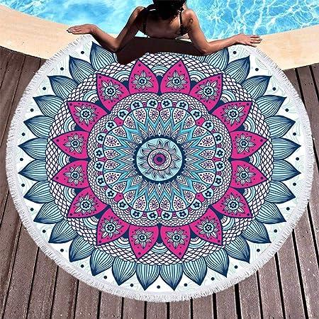 YOYOLIFE Toalla de Playa Mandala Tela De Toalla De Microfibra 150 Cm Toalla De Playa Algodón para Adultos India Yoga Mat Borla Manta Toalla De Baño Redonda Grande: Amazon.es: Hogar