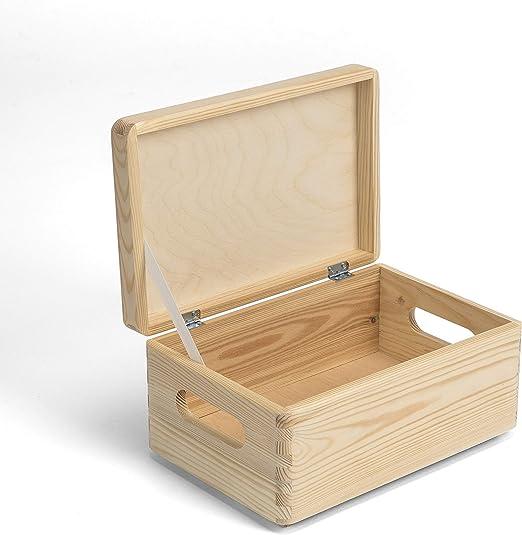 Amazinggirl Caja de Madera con Tapa - Cajas almacenaje para ...