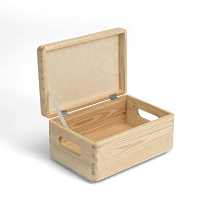 Amazinggirl Caja de Uso múltiple con o sin Tapa Madera Cofre del Tesoro Cerrable Regalo Natural
