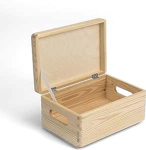 Amazinggirl Caja de Madera con Tapa - Cajas almacenaje para Decorar Pintar decoupage Regalo de Uso múltiple Cofre del Tesoro 30 x 20 x 14 cm: Amazon.es: Hogar