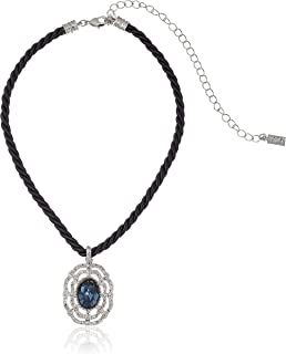 product image for 1928 Jewelry Black Rope Choker with Silver-Tone and Pendant Necklace
