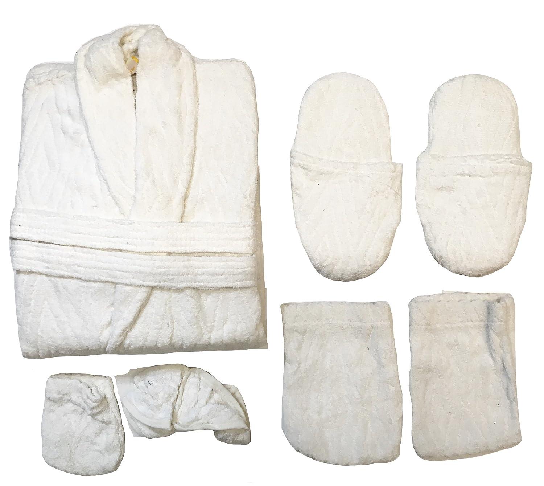 Set completo pz. 6 accappatoio spugna 100% cotone uomo donna P01