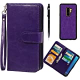 xhorizon FLK Premium Leather Folio Case Wallet Magnetic Detachable Removable Wristlet Purse Soft Multiple Card Slots Cover for Samsung Galaxy S9 Plus with a Bonus - 2 in 1 Stylus (Purple)