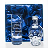 Engraved/Personalised Tall SHOT Glass & Crystal Head Vodka Gift Set in Silk Box For Christmas/18th/21st/30th/40th/Birthday/Wedding