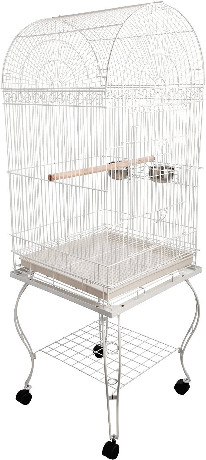 Pawhut Jaula de Pájaros Jaula de Aves Exterior con 4 Ruedas Bandeja Extraíble Rejilla Alimentadores y Percha para Periquitos Canarios 54x54x153 cm Blanco