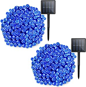 Solar Blue Lights String Waterproof - 2 Pack 72ft 200 LED 8 Modes Outdoor String Lights, Outdoor Tree Decor Light String for Garden, Patio, Fence, Holiday, Party, Balcony, Christmas Decorations