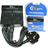 Ex-Pro Olympus BLN-1, BLN1, BCN-1 and BCN1 - Dual Twin Battery Fast Charge Digital Camera Charger for OM-D and E-M5