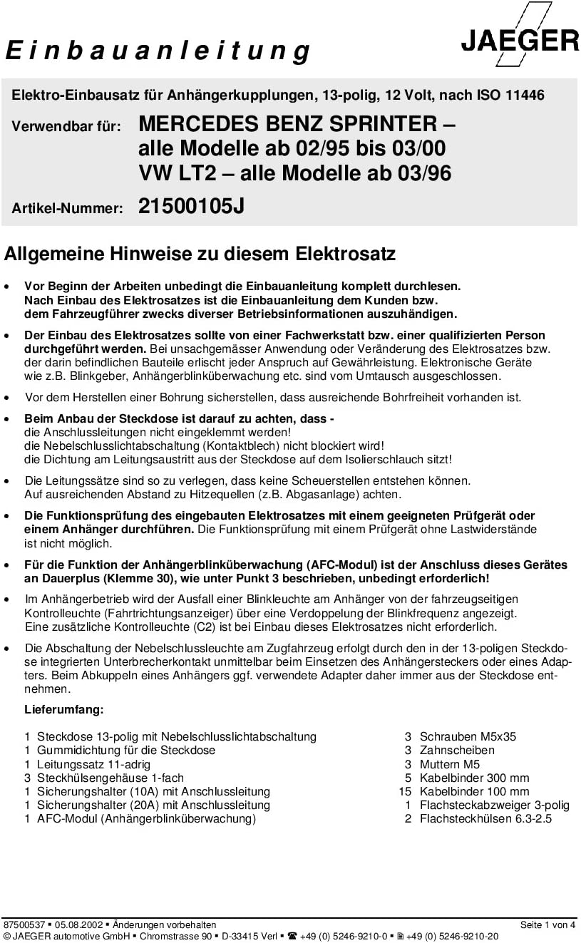 JAEGER automotive 21500105 fahrzeugspezifischer 13-poliger Elektrosatz