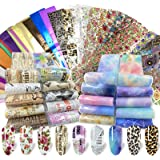 100 Sheets Nail Foil Transfer Sticker Kit, Bagvhandbagro Nail Art Decals Nail Foil Tips Starry Sky Laser Flower Leopard Print