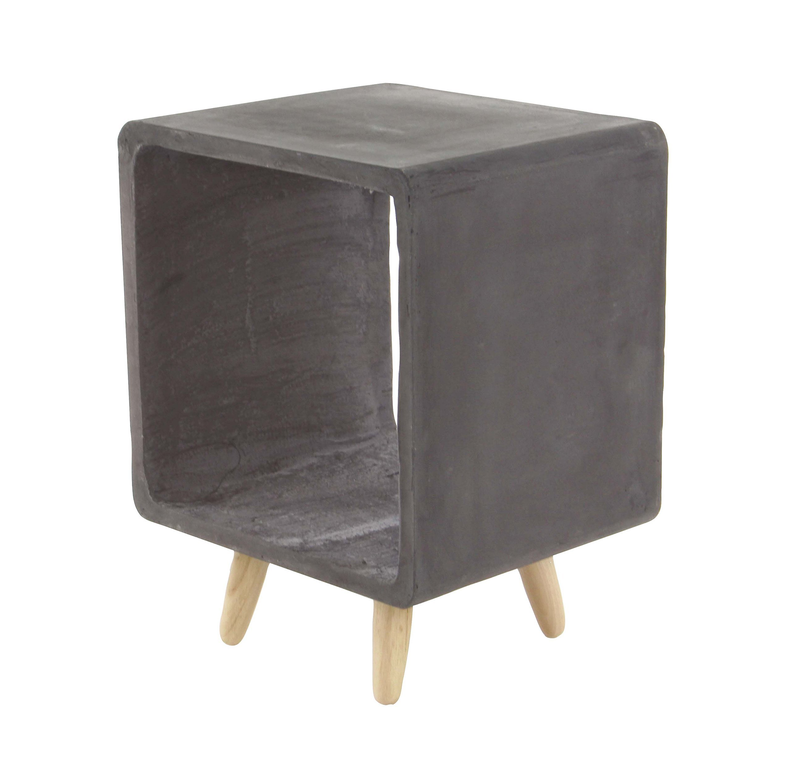 Deco 79 Fiber Clay and Wood Table, Black/Lightbrown by Deco 79 (Image #1)