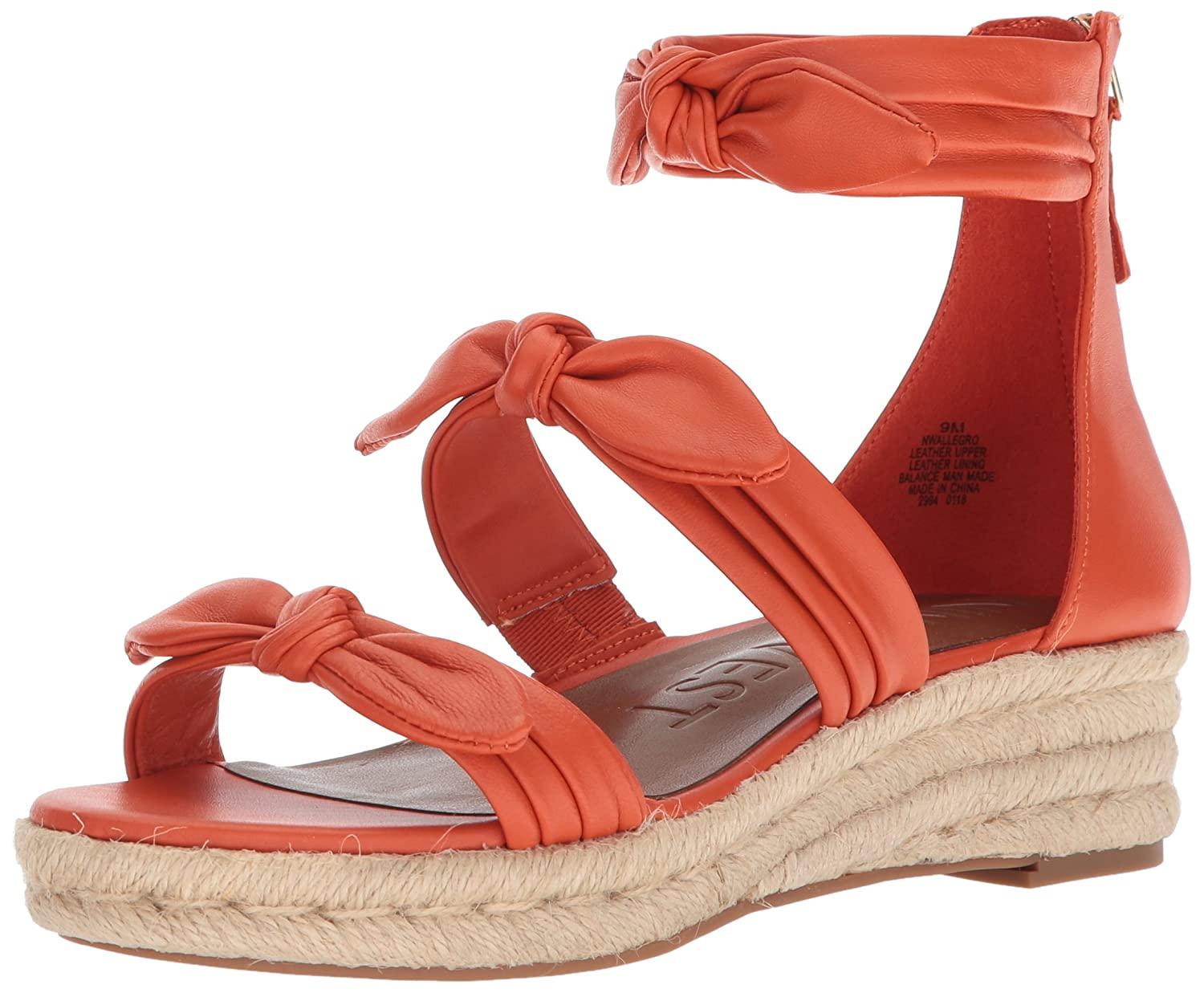 Nine West Women's Allegro Leather Wedge Sandal B074PSRB49 11 B(M) US|Orange Leather