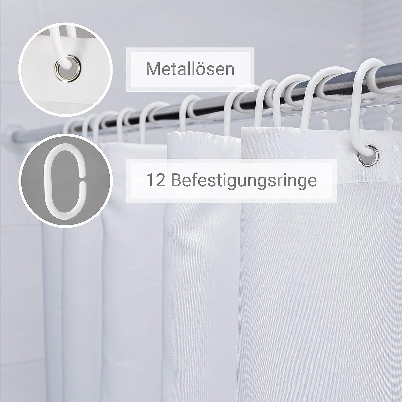 Inkl 12x Befestigungsringe FIT/&DRY Duschvorhang 180x200 cm Shower Curtain in einzigartigem Design f/ür Ihre Badewanne Antischimmel /& wasserabweisender Badezimmer Vorhang