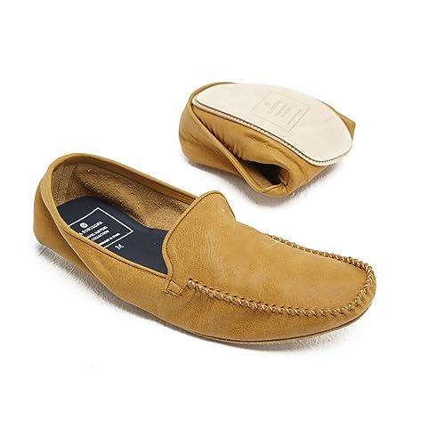 La Portegna - Zapatillas Rodrigo Plegables para Viaje o Andar por casa de Cuero Artesanal Hombre: Amazon.es: Zapatos y complementos