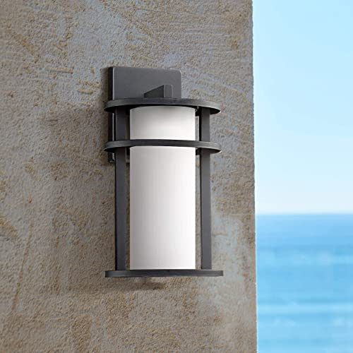 Aline Modern Outdoor Wall Light Fixture LED Black 13″ Caged White Frosted Gla