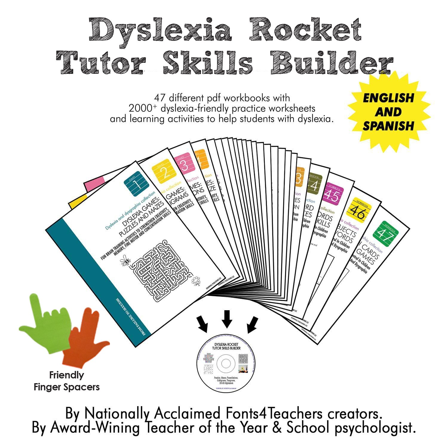 Worksheets Worksheets For Dyslexia amazon com dyslexia rocket tutor skills builder cd rom finger spacers games 47 printable workbooks 2000 pract
