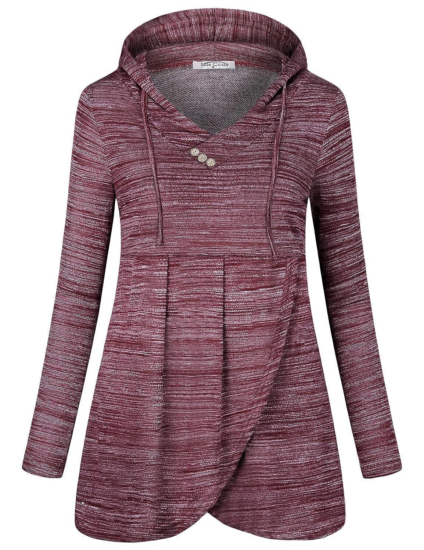 24e9376c SeSe Code Women Long Sleeve V Neck Hooded Asymmetric Hem Casual Tunic Sweatshirt  at Amazon Women's Clothing store: