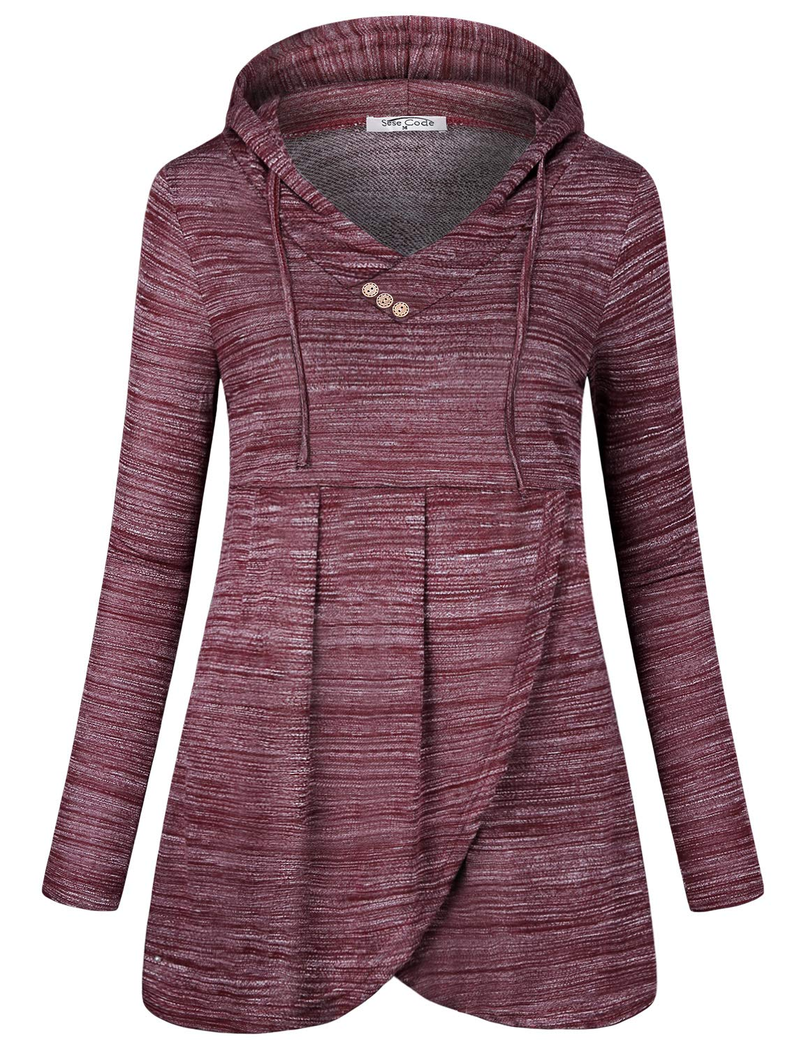 SeSe Code Burgundy Hoodie Sweatshirts for Women Cute Tops Ladies Shirts Long Sleeve Style Spring Workout Clothes Maroon Aesthetic Sweatshirt Wine Red XLarge
