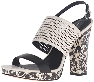 8e4fee19159 Calvin Klein Women s Breannie Platform Dress Sandal Black Soft White 5.5 ...