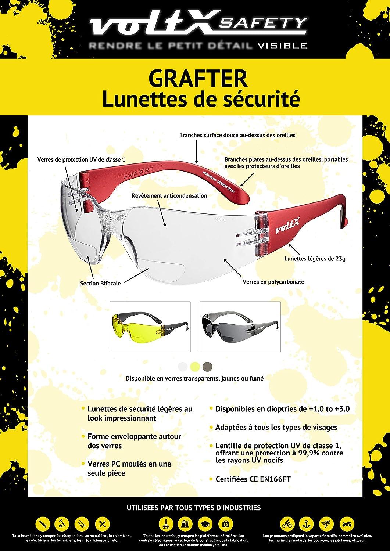 + Lentille UV400 Pochette de s/écurit/é Extensib Certifi/ées CE EN166F // Lunettes de Cyclisme Transparentes dioptrie +2.5 voltX /'Grafter/' Lunettes de Lecture l/ég/ères de s/écurit/é bifocales