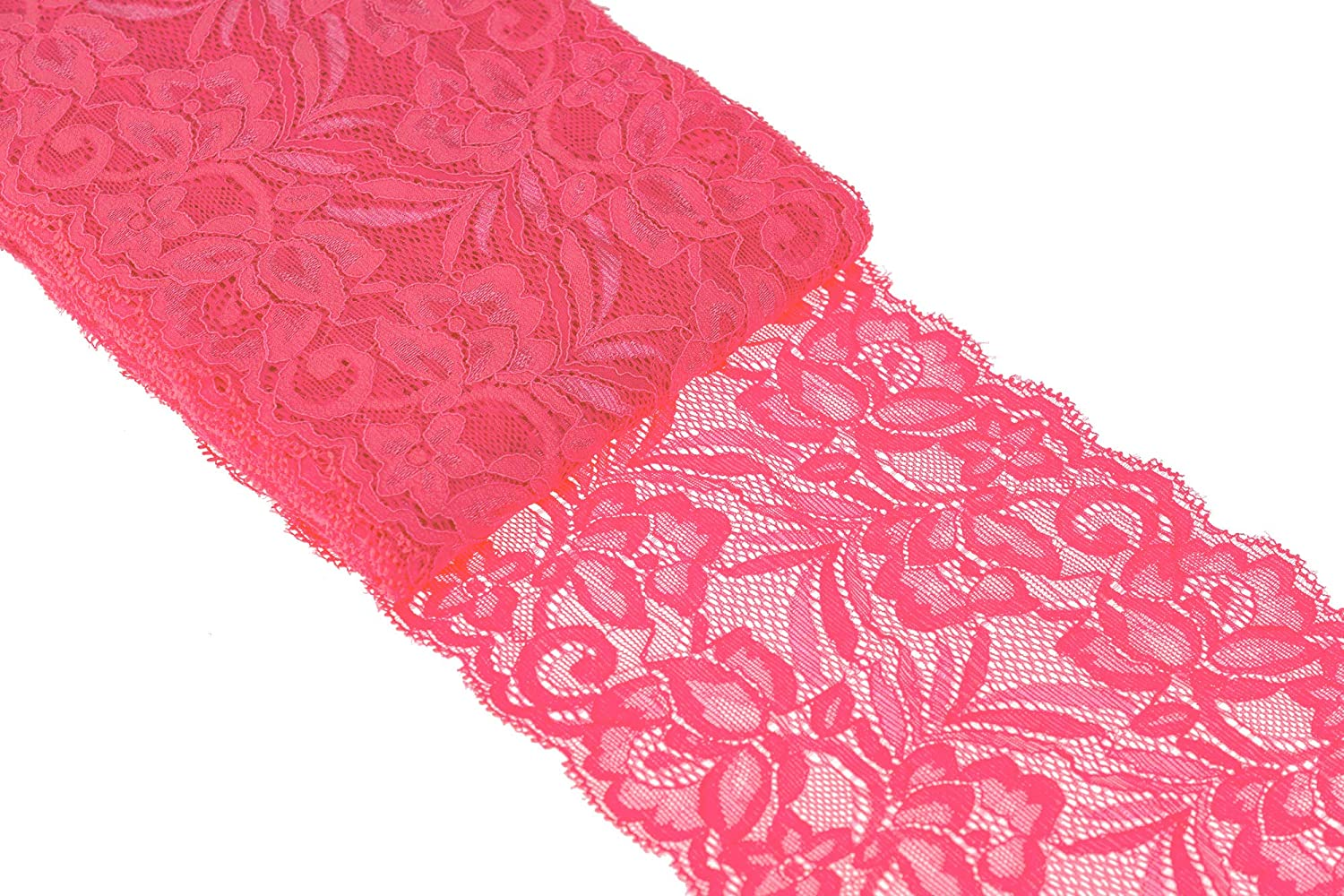 Red ATRibbons 10 Yards 6 Inch Wide Elastic Lace Trim Floral Pattern Lace Ribbon for Garment,Crafts and Gift Wrapping
