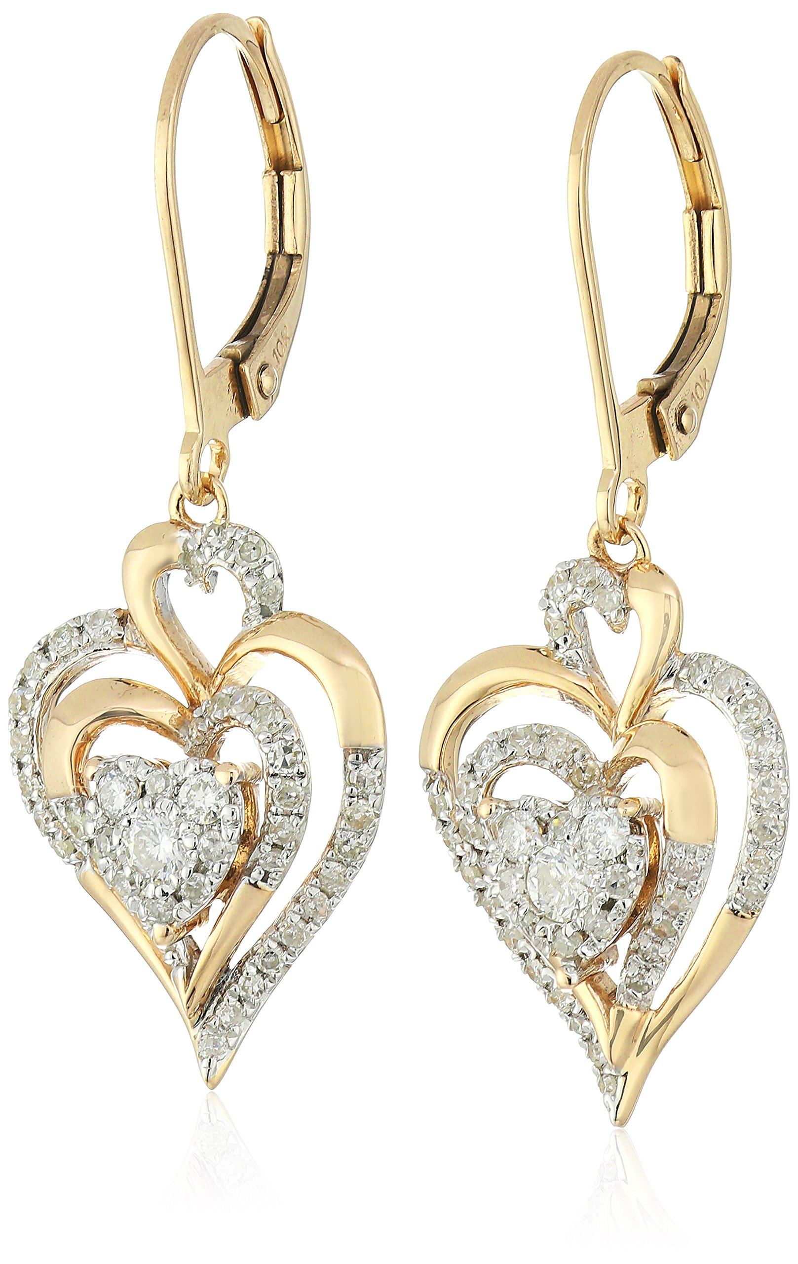 10K Yellow Gold Cluster Heart Diamond Drop Earrings (1/2 cttw, I-JColor, I2-I3 Clarity)