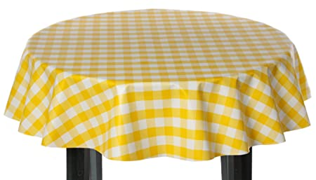 Code Yellow Gingham Check PVC Wipe Clean Vinyl Tablecloth ALL SIZES F107-4