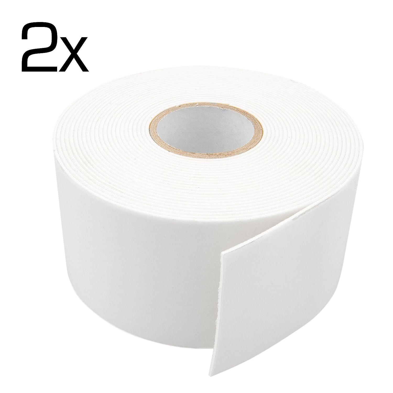 4CARS Conjunto de 2 piezas de cinta adhesiva de espuma de doble cara extra fuerte, de 50 mm de ancho, 5 metros de largo, 1 mm de espesor, blanca.