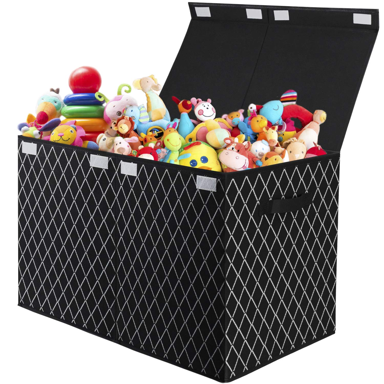 Kids Toy Box Chest Storage with Flip-Top Lid - Collapsible Sturdy Toys Boxes Organizer Bins with Handles for Nursery,Playroom,Closet Home Organization(Black)