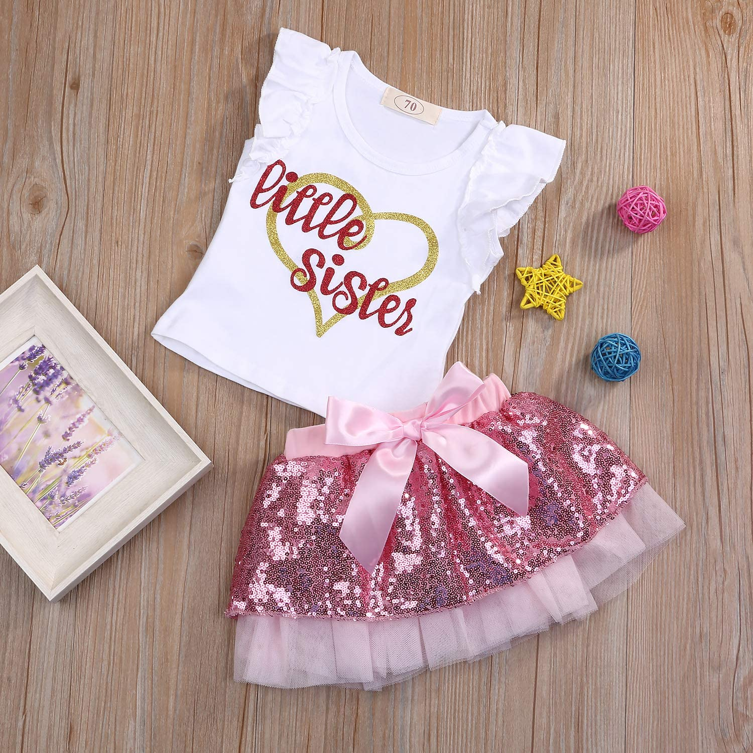 Little Girls Sister and Sister Summer Outfits Flying Sleeve Top Bow-Knot Skirts Sets Shining 2Pcs