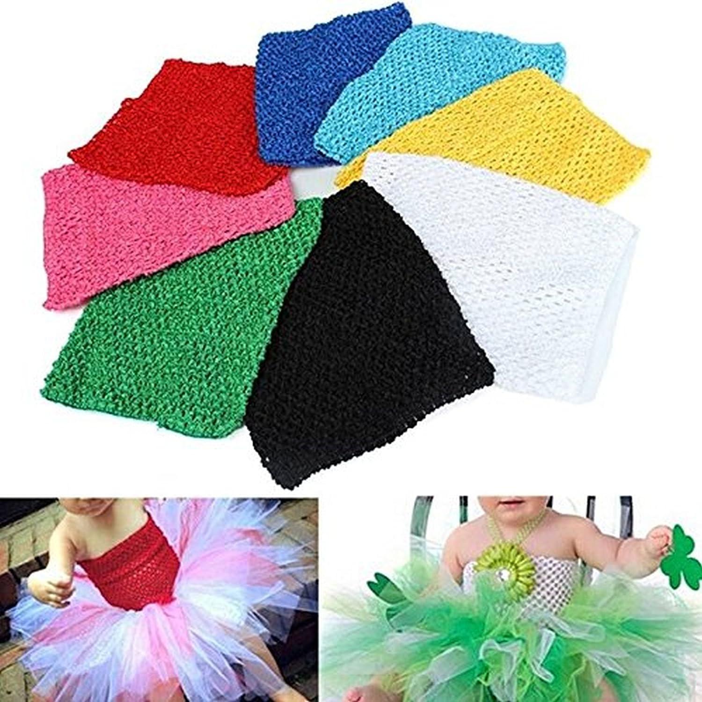 593fcfdc6f Amazon.com  Saver 9 inch Children Girls Crochet Tube Top Elastic Waistband  Head Hairband DIY Girls Tutu Fluffy Skirt Wrap Chest  Sports   Outdoors