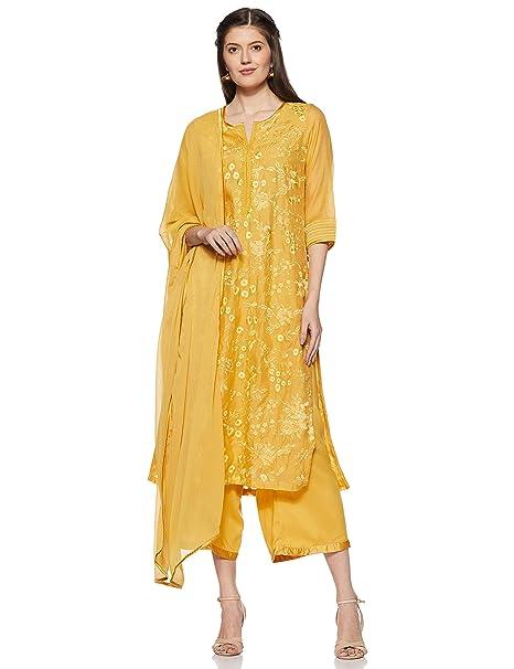 cc9909dfa09 BIBA Women s Synthetic Straight Salwar Suit Set  Amazon.in  Clothing ...