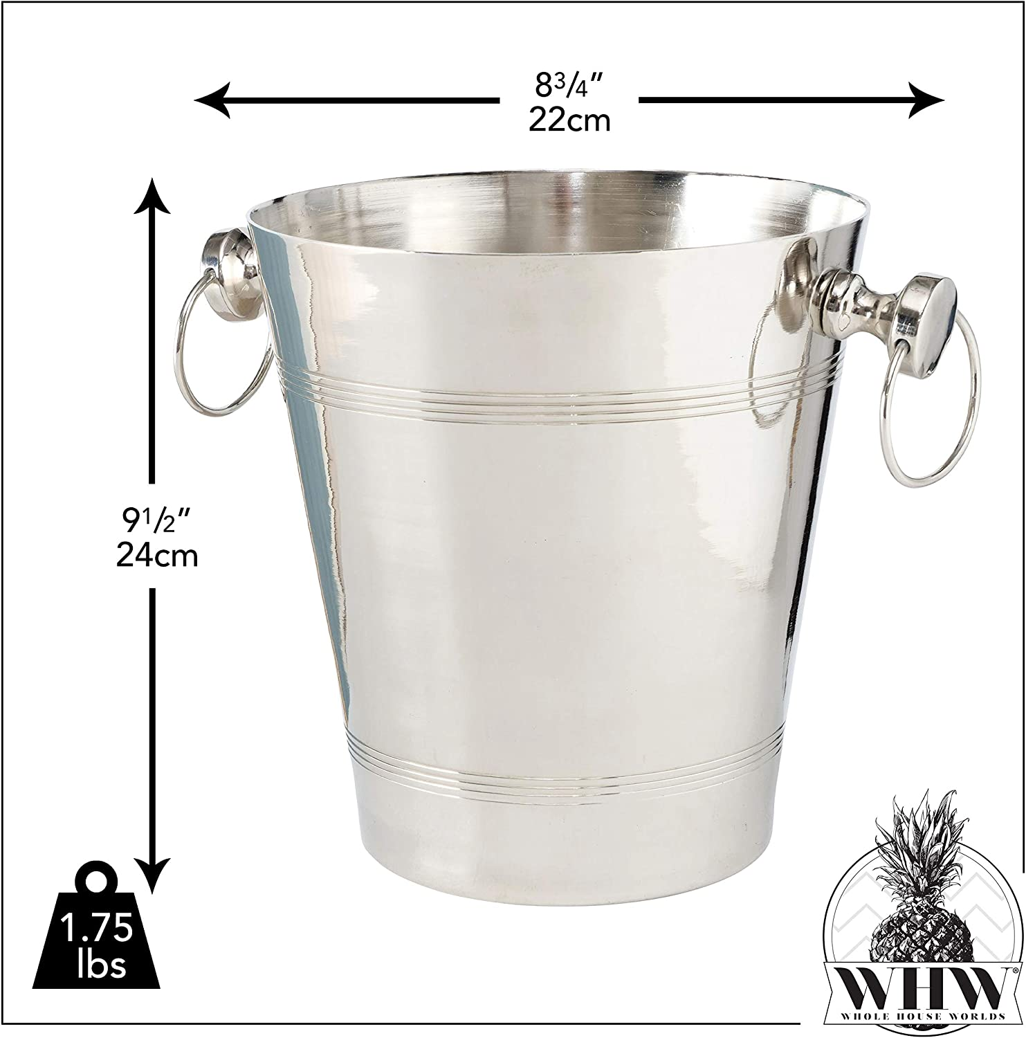 WHW Whole House Worlds Old World Luxurious Grand Hotel Champagne Bucket Silver Aluminum Nickel 8.75 D W x 9.5 H Inches