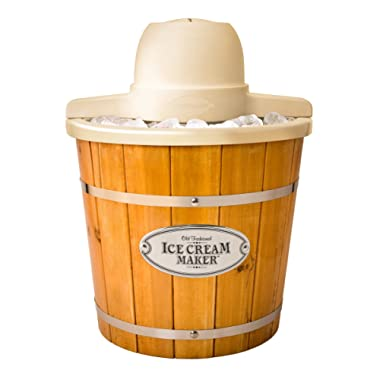 Nostalgia ICMP400WD Electric Wood Bucket Ice Cream Maker, 4-Quart