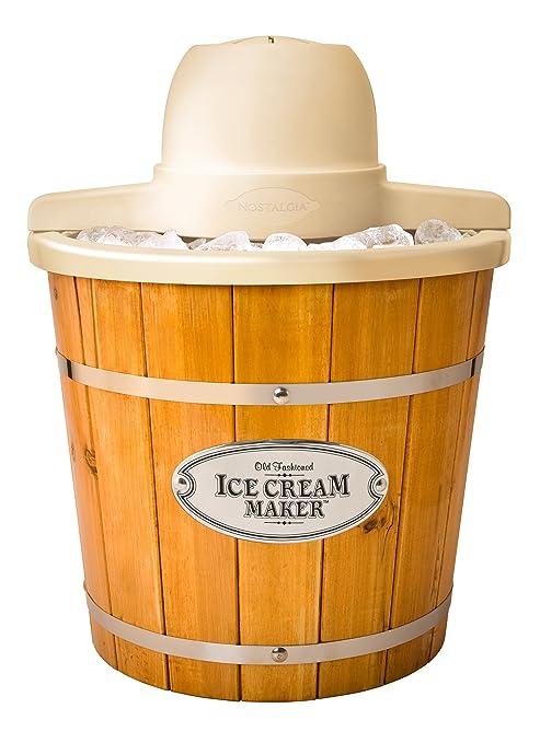 Best Ice Cream Maker 2020.Nostalgia Icmp400wd Electric Wood Bucket Ice Cream Maker 4 Quart