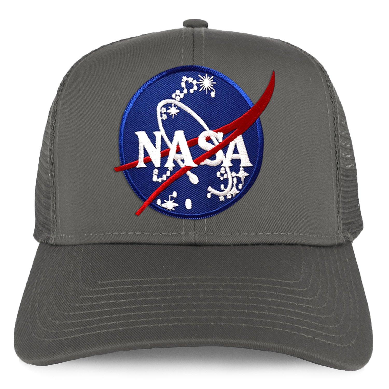 17657bcbd22 Armycrew XXL Oversize NASA Insignia Logo Patch Mesh Back Trucker Baseball  Cap - Black at Amazon Men's Clothing store: