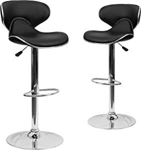 Flash Furniture 2 Pack Contemporary Cozy Mid-Back Black Vinyl Adjustable Height Barstool with Chrome Base
