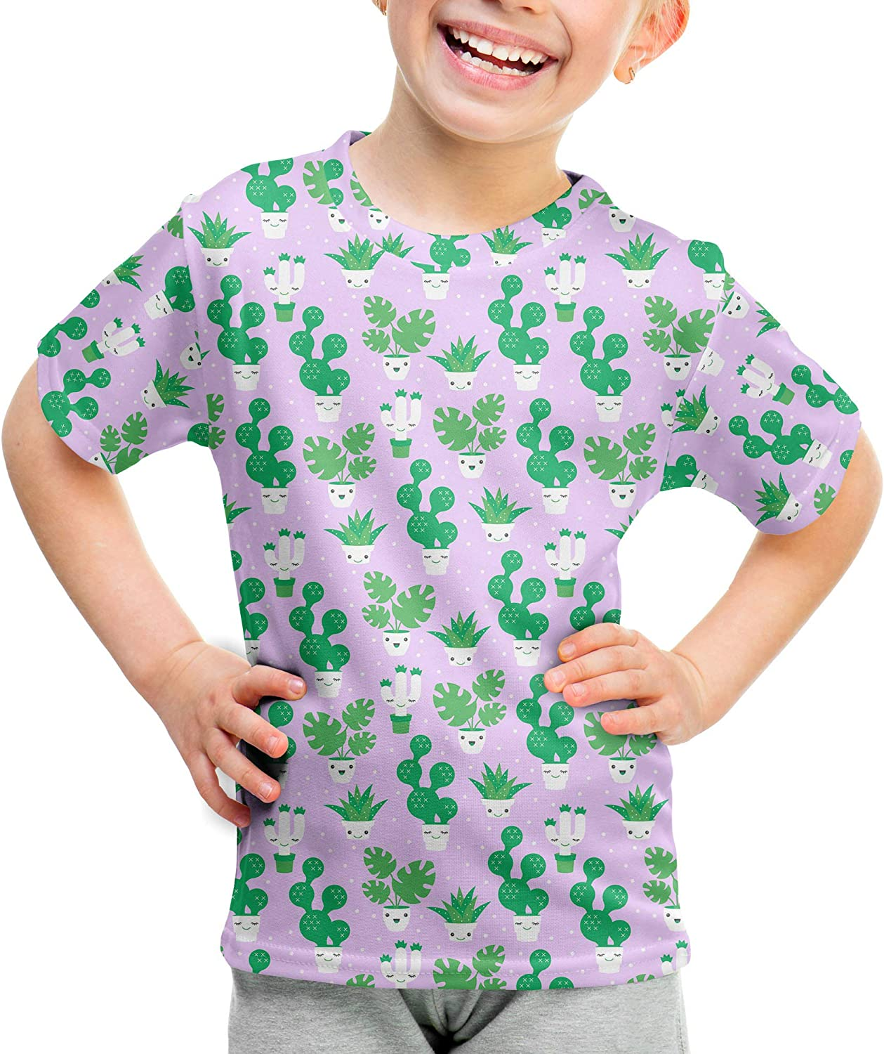 Rainbow Rules Kawaii Cactus Plants Kids Cotton Blend T-Shirt Unisex
