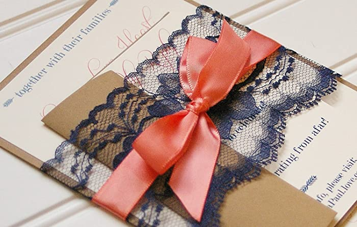 Navy And Coral Wedding Invitations. Handmade Cards. Rustic Wedding. Shabby  Chic Wedding.