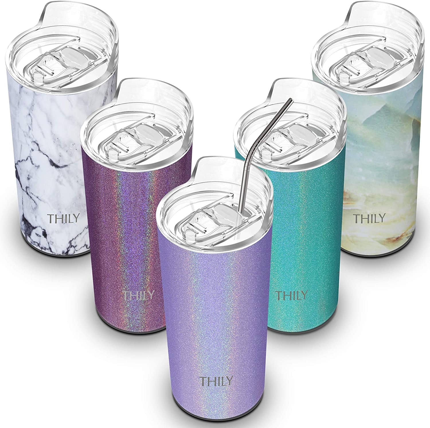 Stainless Steel Insulated Skinny Tumbler - THILY 16 oz Travel Mug with Lid and Straw, Keep Cold for Ice Water, Coffee, Juice, Drinks, Glitter Lavender